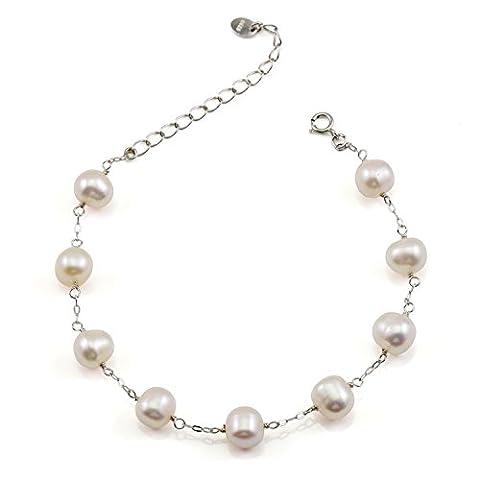 JFUME Bracelet Femme Perles de culture d'eau douce blanches en