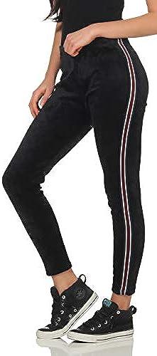 Malito Damen Freizeithose mit Seitenstreifen   Jogginghose in Samt Optik   warme Sporthose - Leggings 3374