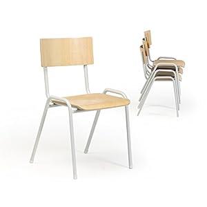 Protaurus Stapelstuhl Serie ECO, Sitzfläche und Lehne Buchensperrholz, Gestell RAL 7035 Lichtgrau