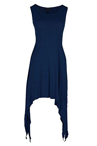 Frauen Doppel Spalten von Seite Hohe Taille Split Swing Double Flared Franki Saum Taschentuch Kleid Mittellang Marineblau