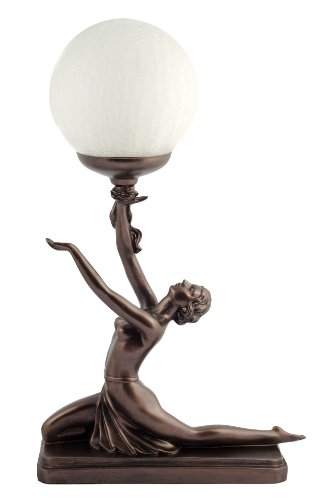 Art Deco Bronze Lighting Nora Kneeling Lamp Figure by Julianna