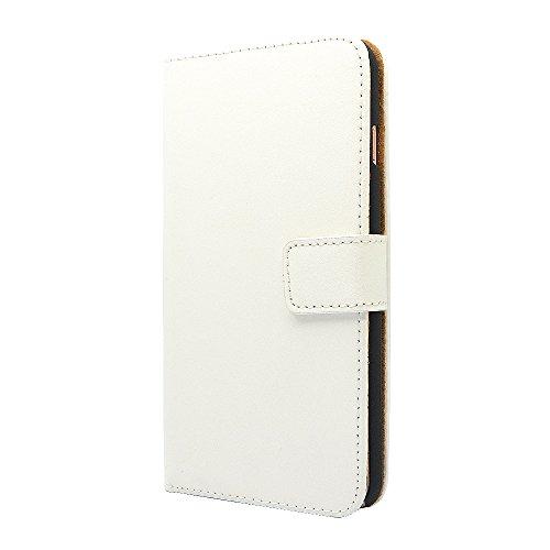 Apple iPhone étui en cuir véritable, Premium Cuir Portefeuille Coque avec béquille [] [Cash et emplacements de carte] [Fermeture magnétique] Flip ordinateur portable Coque pour iPhone 5/5S/SE, iPhone  blanc