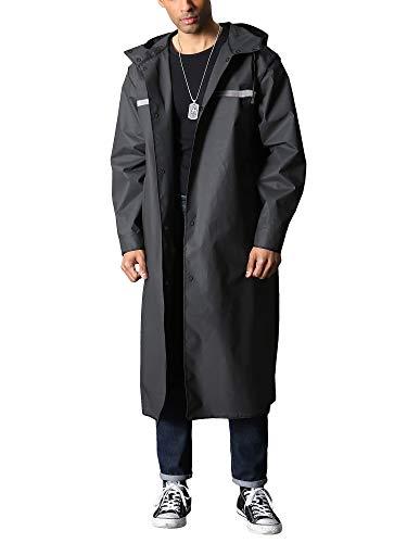 Rain Coat Men Waterproof Rain Jacket Reusable Long Raincoat Hiker Angler Rain Poncho Fishing Travel Hoodies Riders Rainproof Jacket, Black...