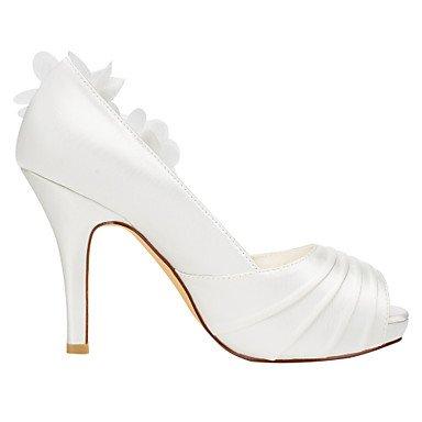 Moda Donna Sandali Sexy donna tacchi Primavera / Estate Platform in raso elasticizzato / Matrimoni Party & sera abito / Stiletto Heel Applique / Ruffles avorio / Bianco White