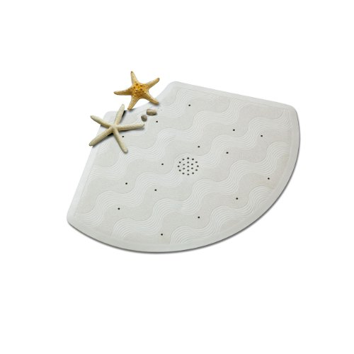 Foto de Rayen 2335 - Alfombra para ducha triangular con ventosa, 67 x 45 cm, color blanco