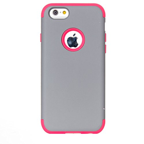 JNTworld iphone 6 6s Case Couleurs mélangées antichoc Dur Silicone Protecteur, 4.7'', Gray&Bleu Gray&Rose1