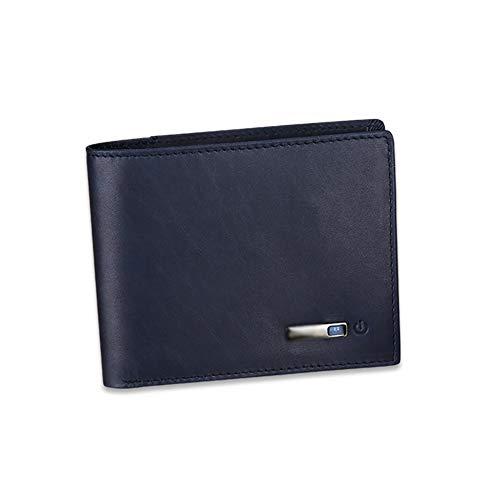 C- Intelligente Anti-Lost-Brieftasche Intelligente Bluetooth-Brieftasche Mit Alarm, Bluetooth, Positionserfassung (Über Telefon-GPS) Und Bifold-Rindsleder-Geldbörse,Blau