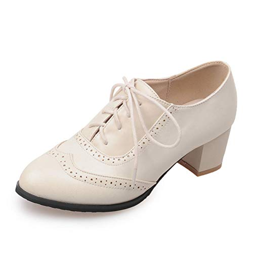 Kaloosh Women's Fashion PU Leather Oxfords Brogue Pointed Toe Lace up Chunky High Heel Shoes Dress Pumps Oxfords Shoes Oxford Lace Up Pump Schuhe