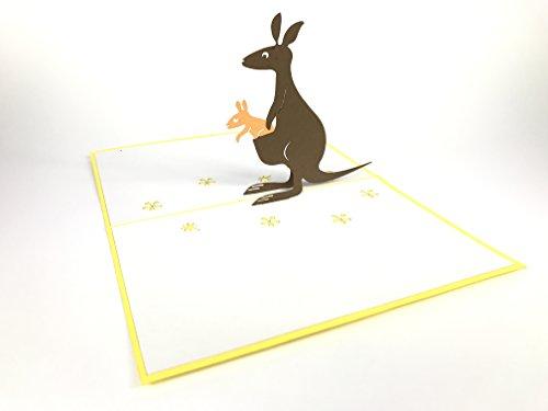 Känguru Familie Animal 3D Pop up Grußkarten Jahrestag Baby Geburtstag Ostern Halloween Mutter Vater New Home NEW YEAR Thanksgiving Valentine Hochzeit Weihnachten