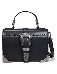 37d68dad4 Bosanova Bolso de Solapa Estilo Caja con Detalles Metálicos en Cantoneras y  Hebilla Decorativa para Mujer