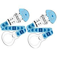 """MAM Soother Clips """"I Love Mummy/Daddy"""" for use with MAM Soothers (2 pack Blue) Test"""
