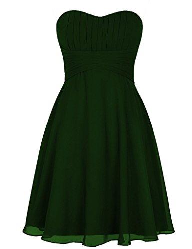 HUINI Tesoro Corto Satin Prom Dresses Festa di Nozze Abiti Convenzionali Verde scuro