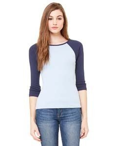 Ladies' Baby Rib 3/4-Sleeve Contrast Raglan T-Shirt BABY BLUE/ NAVY M (Blue Raglan-t-shirt Navy Heather)