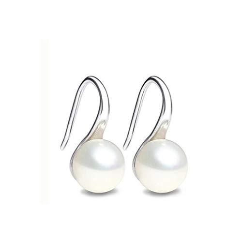 Jixing Charm Damen Ohrring Perle Ohrringe Perle Knopf Kugel Ohrstecker-Perfekt für Naturliebhaber und Jubiläum Geschenke, Silber, Zink-Legierung