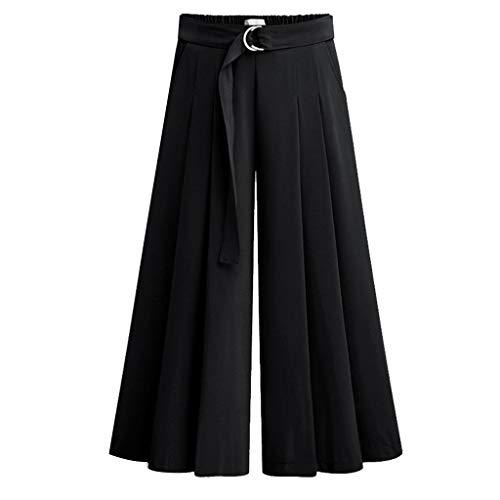Setsail Damen Trend Hosen Elastische Taille Solide Plus Size Lässige Weite Bequeme Hose mit Taschen -