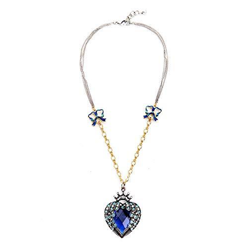 QIYUEQI Damen Kette Halskette Mit Anhänger Kommt In Eleganten Geschenk-Box, Nickel-Freie Bestanden Sgs Test Rosenkranz Schlüsselbeinanteil Kette Heart-Shaped Bow Tie Blue s