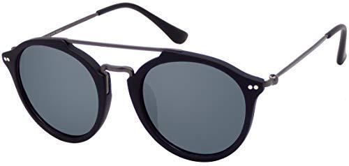 La Optica B.L.M. UV400 CAT 3 Unisex Damen Herren Sonnenbrille Pilotenbrille Rund Doppelbrücke - Matt Schwarz (Gläser: Grau)