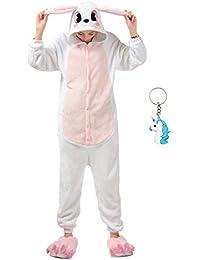 Landove Pijama de Una Pieza Adulto Unisexo Trajes Animales Mono Cosplay Kigurumi Onesie con Capucha Jumpsuit Romper Ropa de Dormir para Mujer Hombre Disfraz de Halloween Carnaval Navidad Festival …