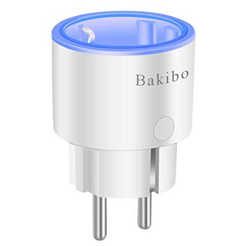 bakibo Presa Intelligente Wifi Compatibile con Alexa Echo, Google Home e IFTTT, Mini Smart Plug con Luce Notturna, App Controllo Remoto, Temporizzazione, Programma, Monitor Energetico, 1 Pcs