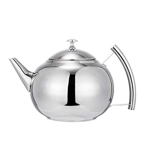 Stainless Teekanne Für Herdplatte, Edelstahl Tee-Kaffeekanne Wasserkocher Mit Filtersieb Infuser Jug, Geeignet Für Zuhause, Hotel, Café, Bar Und Restaurant (Color : Silver, Size : 1.5L) (Tee-wasserkocher Mit Infusers)