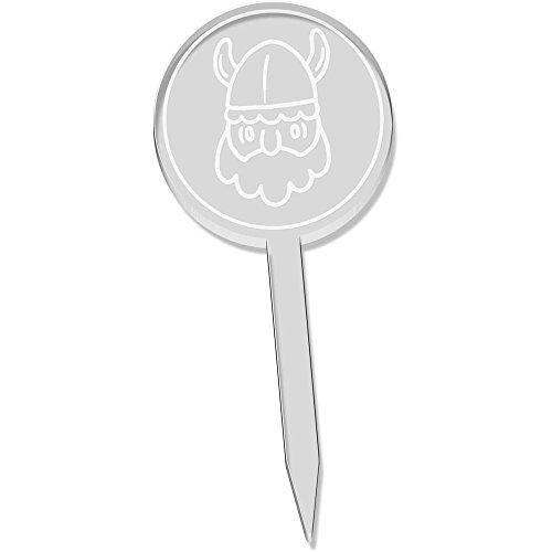 6 x 'Viking Head' Clear Cupcake Picks / Cake Toppers (CT00013129)