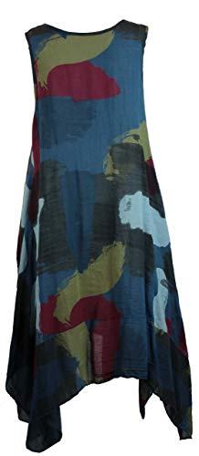 Bild von BZNA Leinen Tunika Kleid Blau Kleid Leinentunika Shirtkleid 36 38 40 42 one size Damen Dress Oberteil elegant