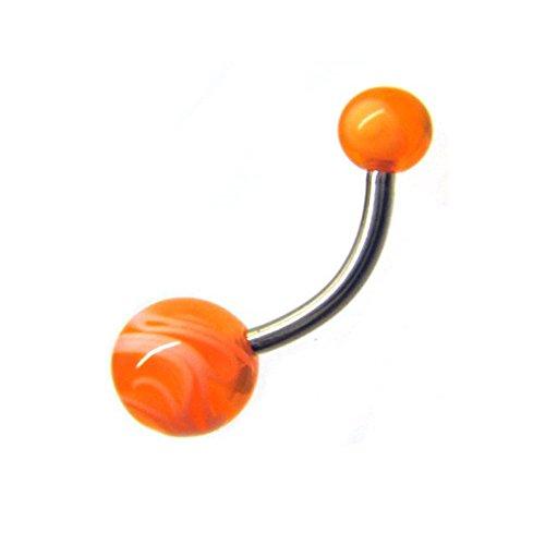 Piercing ombelico a forma di banana 1,6 x 12 mm stabilizzato uv arancione - per sopracciglio - 316l acciaio chirurgico