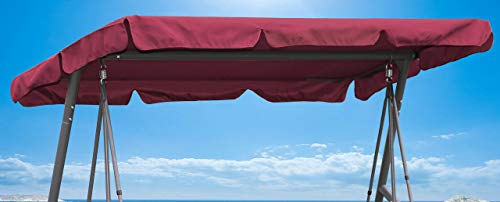 QUICK STAR Ersatzdach Gartenschaukel Universal Hollywoodschaukel 3 Sitzer Bordeaux UV 50 Ersatz Bezug Sonnendach Schaukel Dach -