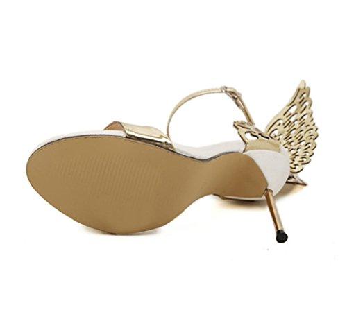 WZG Offene Schuhe Engelsflügel Schmetterling dreidimensionale Stahl Wort feinen Schnalle mit hohen Absätzen neue Sandalen Schuhe Gold