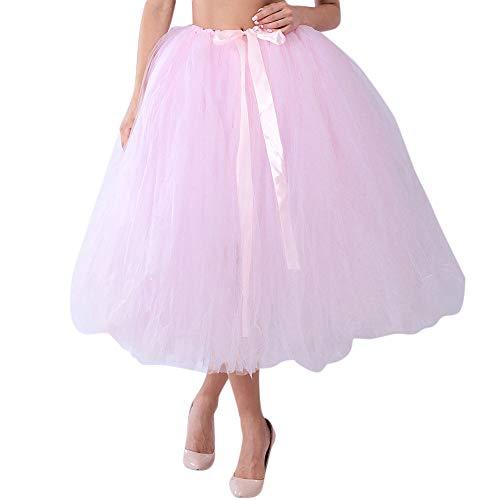 VEMOW Tutu Elegante Damen Cosplay Crinoline Petticoat Mesh Tüllrock Brautjungfer Prinzessin 50er Kurz Ballet Tanzkleid Blase Mutterschaft für Rockabilly Kleid(X1-Rosa, Freie Größe)
