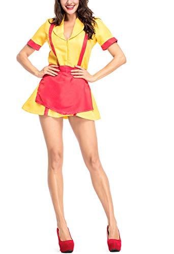 Mitef Halloween Bankruptcy Sisters Kellnerin Kostüm Gelb Uniform Party Dress,M