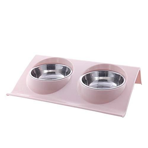WEII Edelstahl Haustier Doppel Schüssel Haustier Katze Kleine und Mittlere Hundefutter Schüssel Wasser Schüssel Heimtierbedarf,Rosa,Einheitsgröße
