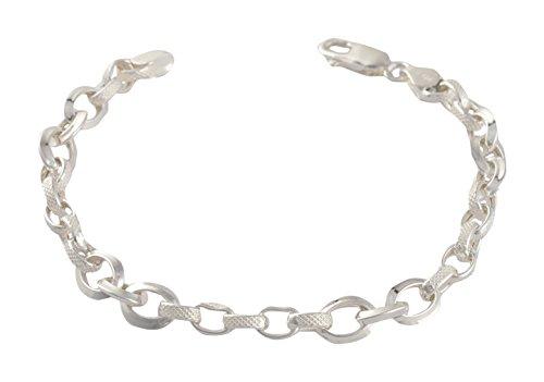 Fashion Handicraft 92.5 Sterling Silver Chain Link Bracelet for Men (ss9250661)