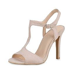 SCARPE VITA Damen Sandaletten High Heels Pumps Stiletto Party Schuhe T-Strap Absatzschuhe Wildleder-Optik Abendschuhe Riemchensandaletten 183596 Nude 36