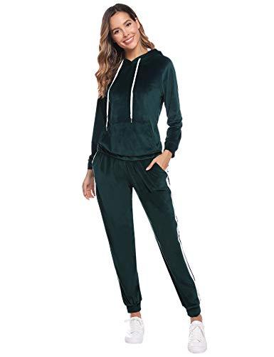 Aibrou Damen Trainingsanzug mit Kapuze Samt Velour Zweiteilige Set Freizeitanzug Einfarbige Jogginganzug Oberteil und Hose Dunkelgrün M