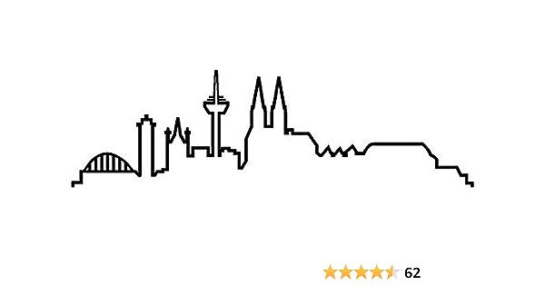 Samunshi Köln Skyline Aufkleber Silhouette In 8 Größen Und 25 Farben 15x4 4cm Schwarz Küche Haushalt