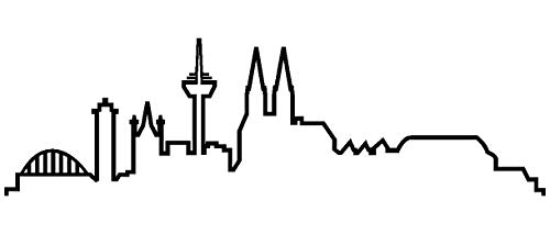 Samunshi® Köln Skyline Aufkleber Silhouette in 8 Größen und 25 Farben (20x5,8cm schwarz) (Frauen Polo Köln)