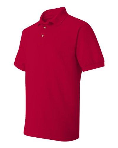 Hanes Herren Baumwolle Poly Welt Kragen und Manschetten Short Sleeve Pique Polo Shirt Tiefrot