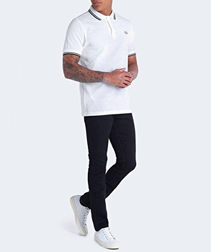 Fred Perry Herren Twin gekippt m3600-Polo-shirt Weiß Weiß