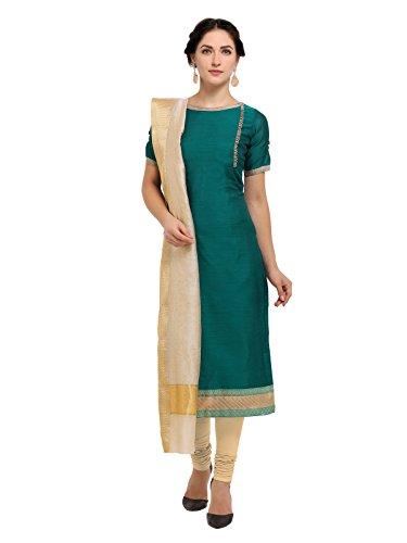 Inddus Green Chanderi Cotton & Cream Cotton With Cotton Weaving Dupatta For...