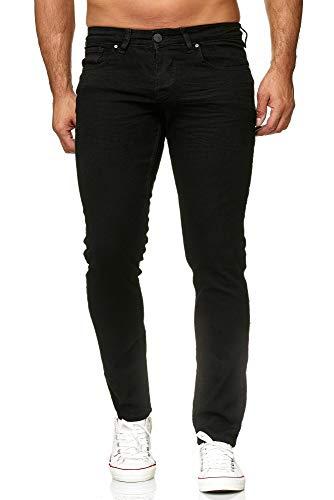 Elara Herren Jeans | Slim Fit Hose Denim | Strech Style | Chunkyrayan 16533-Black-33W / 36L -
