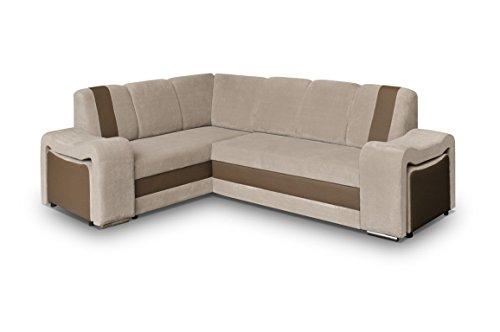 Couch mit Schlaffunktion Eckcouch Ecksofa Polstergarnitur Wohnlandschaft - BROOKLYN (Ecksofa Links, Cappuccino)