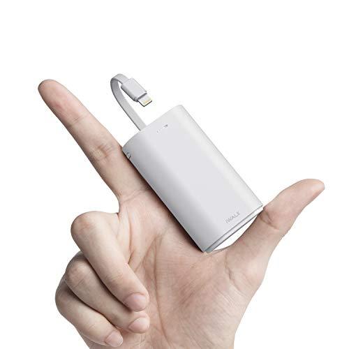 iWALK Klein Power Bank 9000mAh, Tragbares Externes Ladegerät mit Integrierte Kabel Mini Fast Charge Powerbank Kompatibel mit iPhone 11, iPhone 11 Pro, XS, XR, X, 8, 8 Plus, 7, iPod, Samsung und mehr