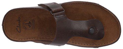 Clarks Netrix Post Herren Pantoletten Braun (Brown Leather)