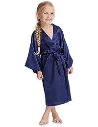 Aibrou Enfant kimono peignoir satin Pour enfant brodé Fille chemise nuit éponge femme robe Paon Fleurs de chambre longue garçon grande taille