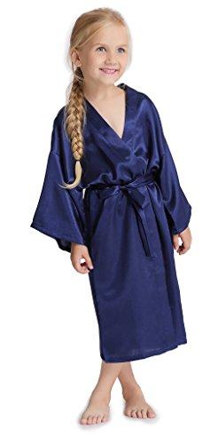 Aibrou-satin-peignoir-sortie-de-bain-enfant-personnalis-robe-de-chambre-soie-femme-grande-taille-petite-fille-pas-cher-garon-kimono-pure-Bleu-fonc-10-ans