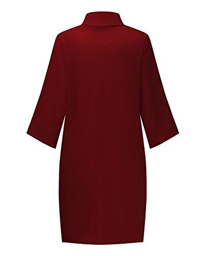 StyleDome Femme Top Chauve Souris Col Roulé Large Lâche Chemise Haut Blouse Shirt Bordeaux