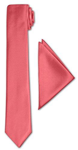 CRIXUS schmale Krawatte Koralle Satin-Krawatte mit oder ohne Einstecktuch ( Tuch Maß 26 x 26 cm ) einfarbig (mit Einstecktuch)