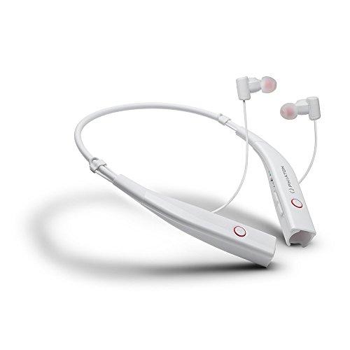 PHIATON BT 100 NC Weiß Wireless Active Noise Cancelling Neckband Ohrhörer mit Mikrofon (Beats Box Portable Zubehör)