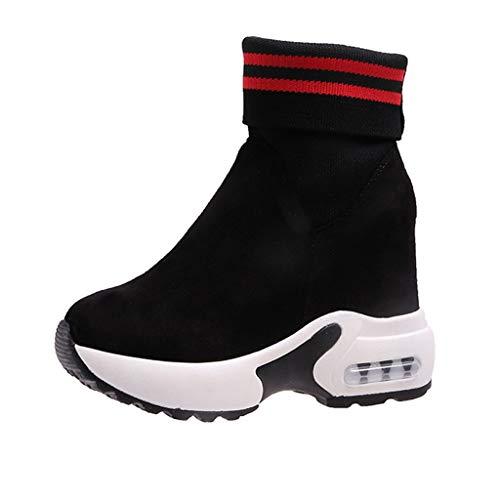 Zilosconcy Damen Steigern Sie Innerhalb Socken Stiefel Fashion Stiefeletten Ankle Gummistiefel KnöChel Wellington Dicker Boden Vintage Chelsea Booties Combat Boots -